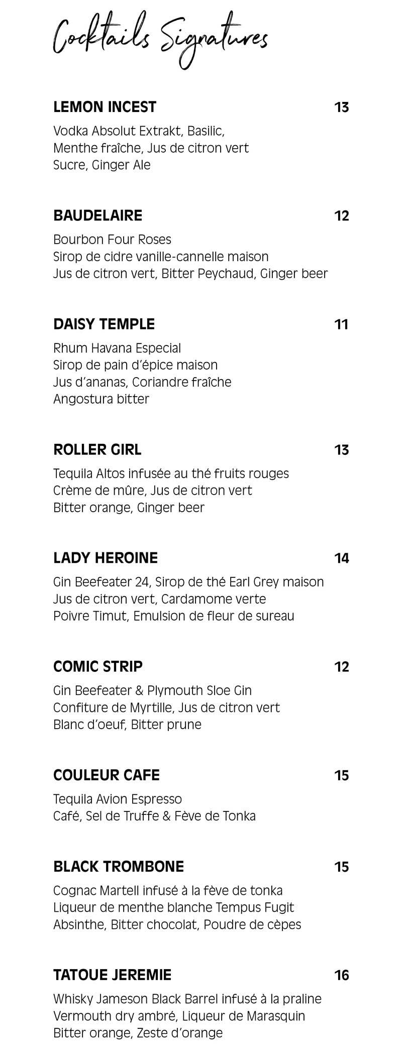 Pamela Popo – menu boisson – cocktails