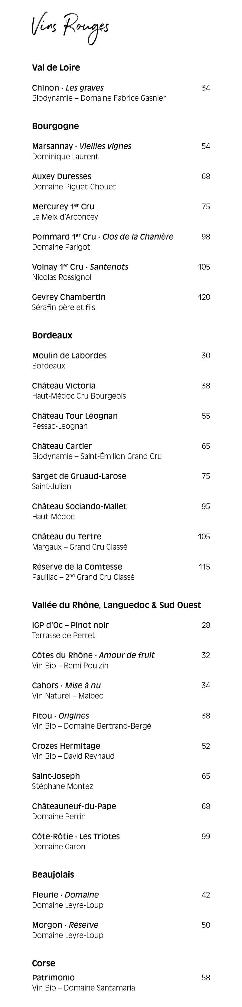 Pamela Popo – menu boisson – Vins rouges