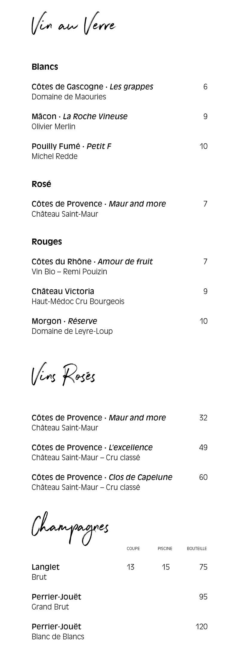 Pamela Popo – menu boisson – Vins au verre